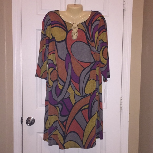 New MSK Abstract Printed 3 Ring Dress Sz 1X NWT